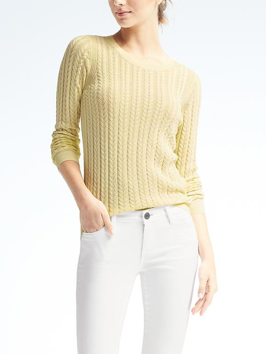 Banana Republic Womens Sheer Cable Knit Pullover Crew Size L - Yellow
