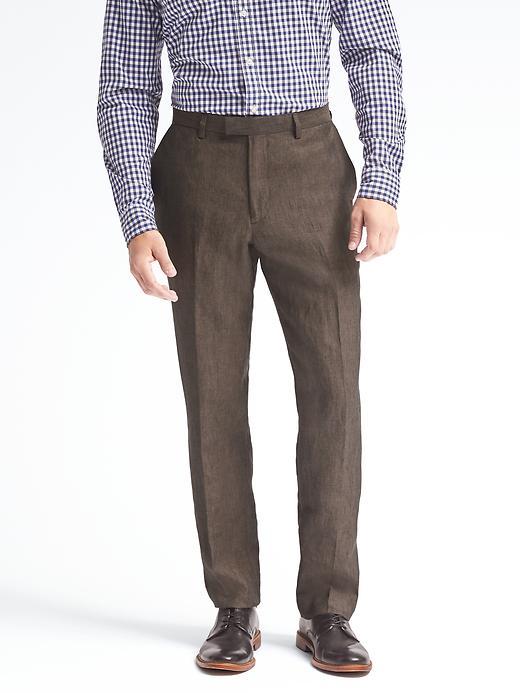 Banana Republic Standard Solid Linen Suit Trouser Size 29W 30L - Brown