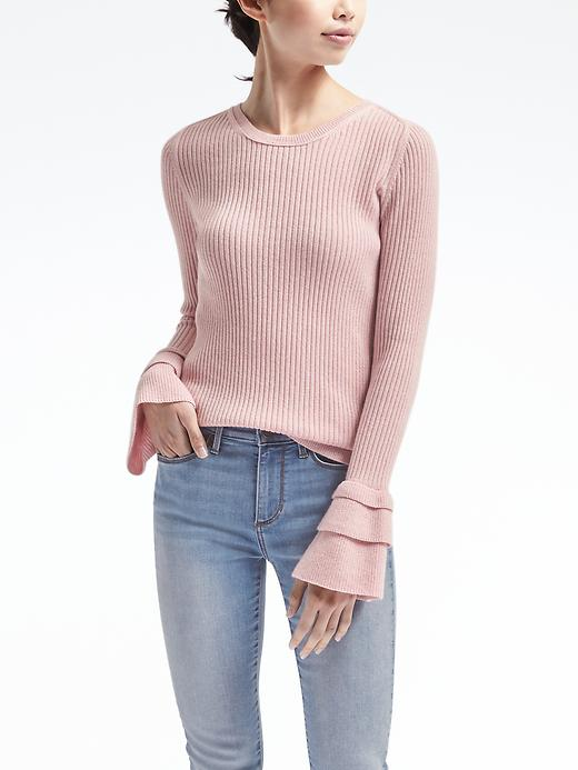 Banana Republic Womens Todd & Duncan Cashmere Ruffled Flare Sleeve Pullover Size M - Pink blush