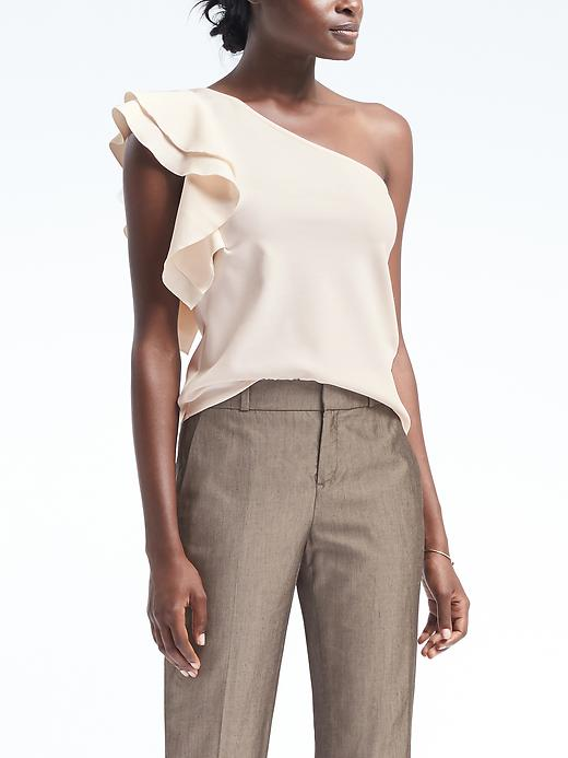 Banana Republic Womens One-Shoulder Flounce Sleeve Top Cream Size L