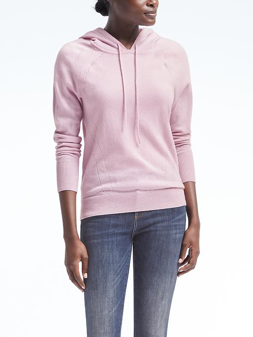 Banana Republic Womens Todd & Duncan Cashmere Hoodie Size L - Pink blush