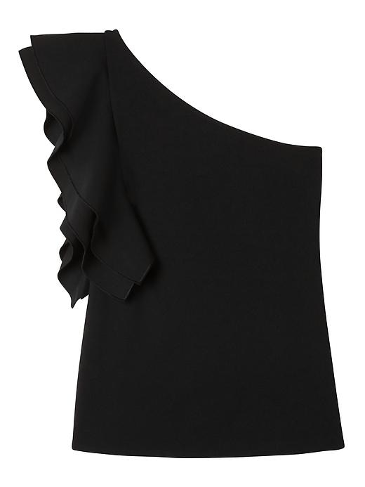 Banana Republic Womens One-Shoulder Flounce Sleeve Top Black Size L
