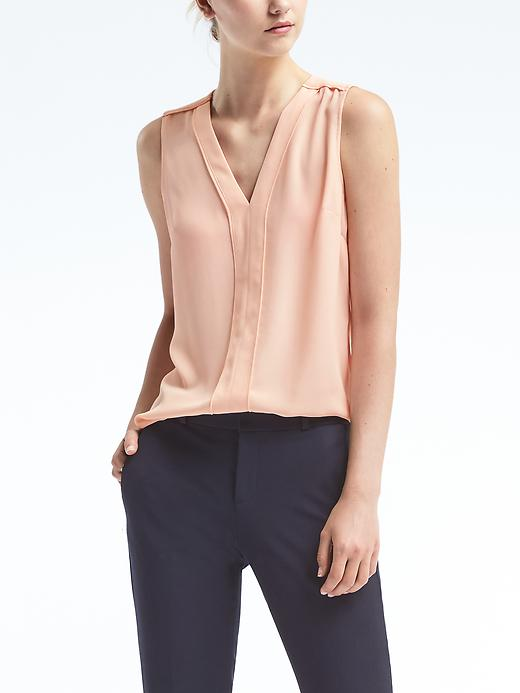 Banana Republic Womens Piped V Neck Top Size L - Pink blush