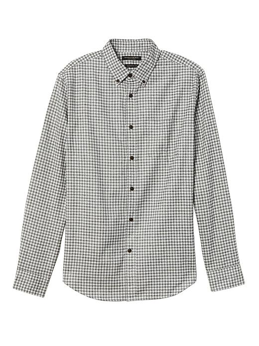 Banana Republic Mens Camden Standard-Fit Gingham Flannel Oxford Shirt Smoke Gray Size XL
