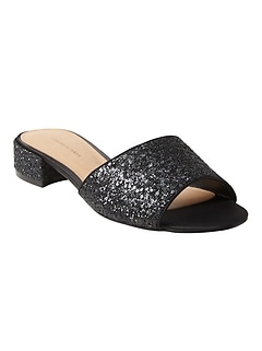 Low Heel Glitter Slide