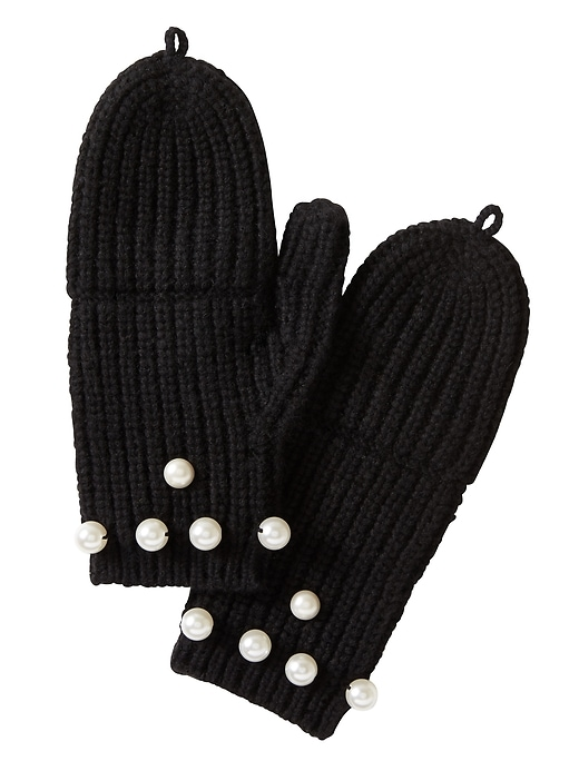 Banana Republic Womens Pearl Pop-Top Mittens Black Size One Size