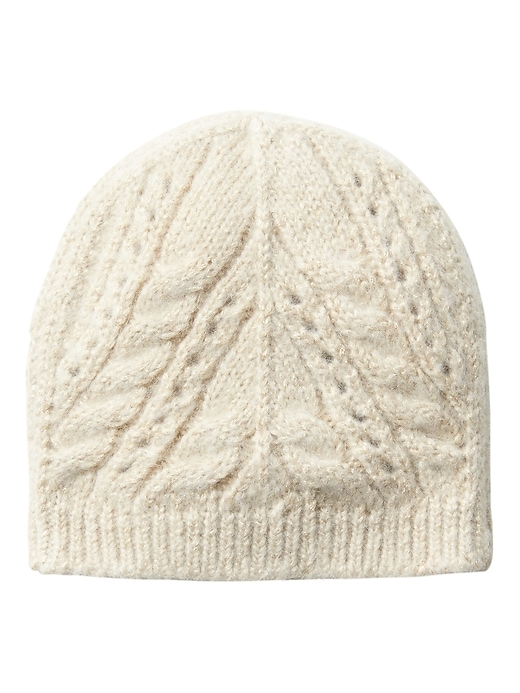Banana Republic Womens Sparkle Cable-Knit Beanie Gold Size One Size