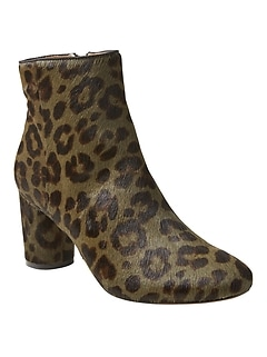 Printed Haircalf Round Block Heel Bootie