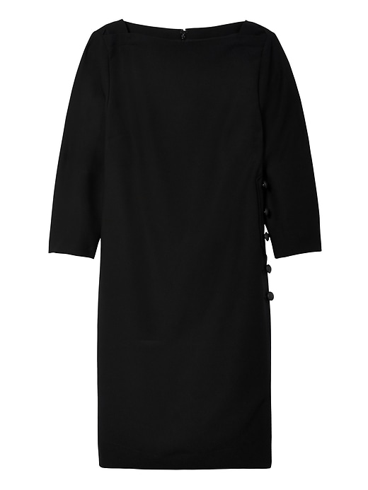 Banana Republic Womens Side-Button Boat-Neck Shift Dress Black Size 2
