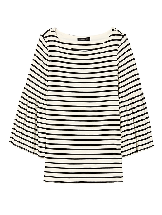Banana Republic Womens Stripe Bell-Sleeve Boat-Neck Top White Size S