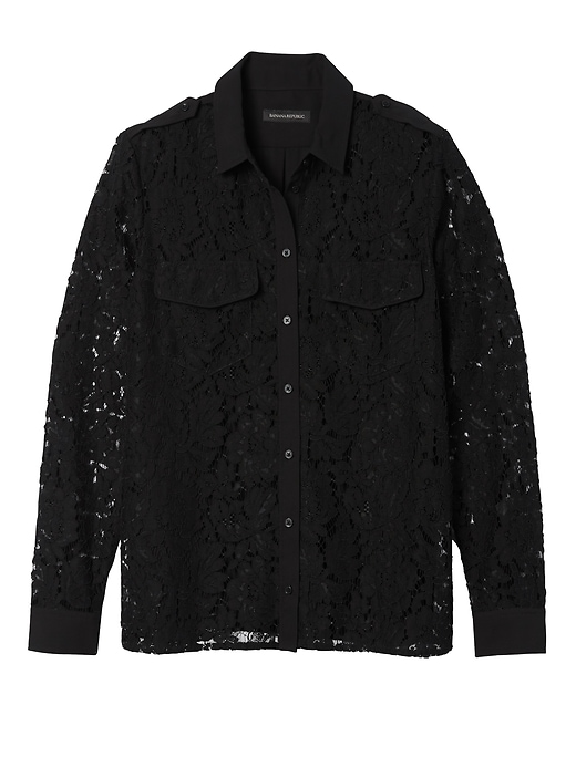 Banana Republic Womens Lace Utility Shirt Black Size S