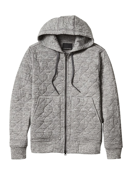 Banana Republic Mens Quilted Brushed Thermal Hoodie Heather Gray Size L