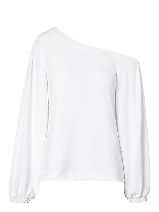 Banana Republic Womens One-Shoulder Balloon-Sleeve Top White Size L