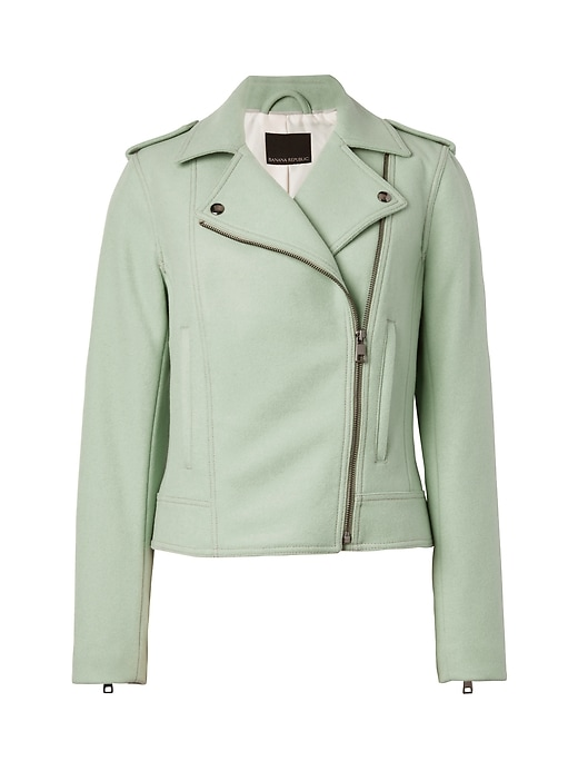Banana Republic Womens Italian Melton Wool-Blend Moto Jacket Sage Size M