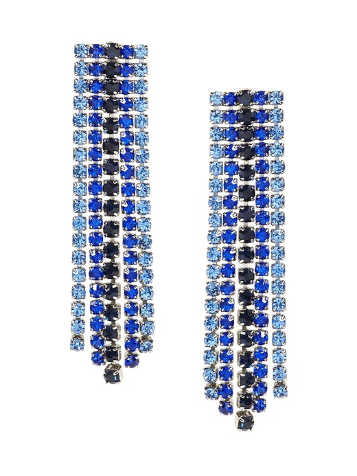 Banana Republic Womens Ombré Cupchain Fringe Earring Blue Multi Size One Size