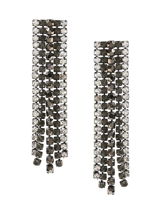 Banana Republic Womens Ombré Cupchain Fringe Earring Black Size One Size