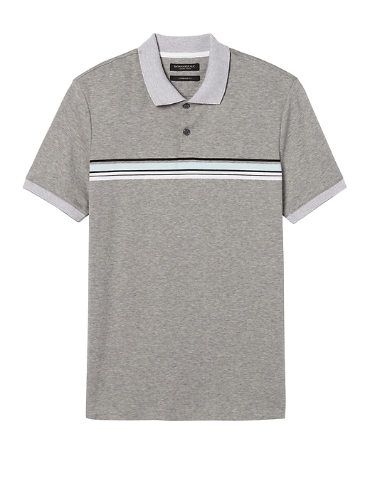 Banana Republic Mens Luxury-Touch Chest Stripe Polo Heather Gray Size XS