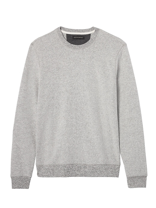 Banana Republic Mens Brushed Waffle-Knit Crew Gray Texture Size XL