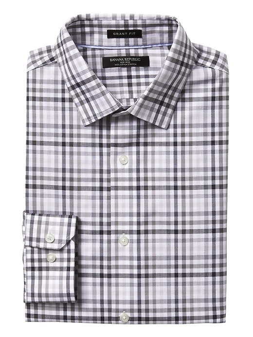 Banana Republic Mens Grant Slim-Fit Non-Iron Stretch Gingham Shirt Light Gray Size L
