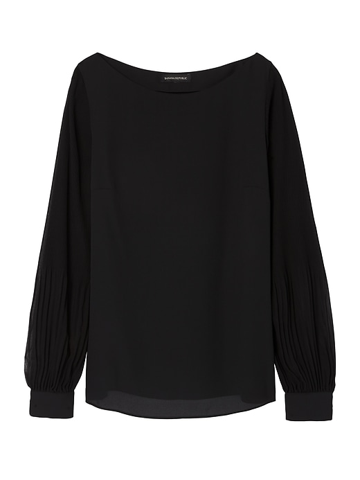 Banana Republic Womens Pleated-Sleeve Top Black Size L
