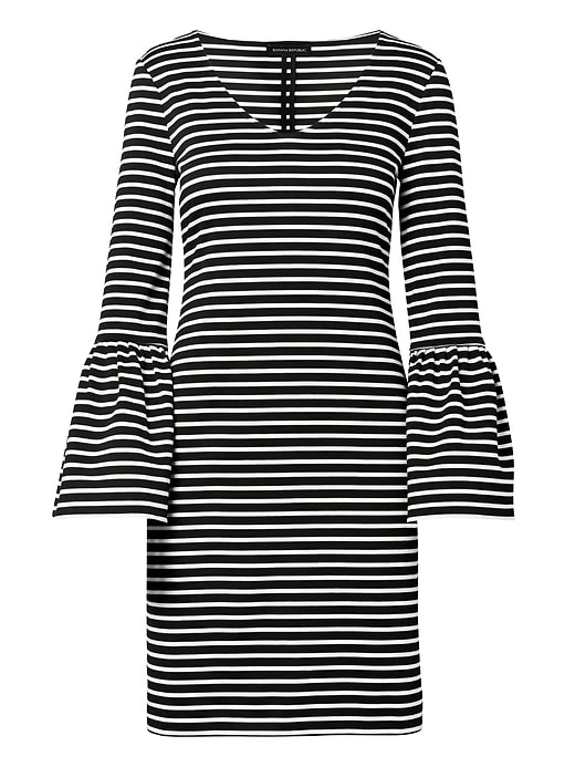 Banana Republic Womens Striped Ponte Bell-Sleeve Shift Dress Black & White Size S