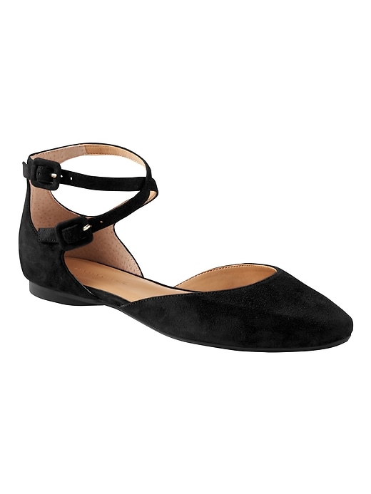 Banana Republic Womens Almond-Toe Crisscross Flat Black Suede Size 5