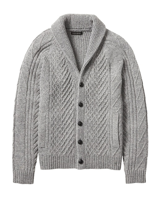 Banana Republic Mens Cable-Knit Shawl Cardigan Heather Gray Size XS