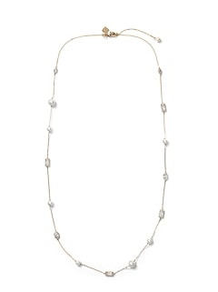 Bezel Stone and Pearl Necklace