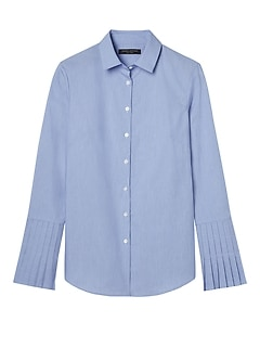 Petite Riley Tailored-Fit Stripe Pleated-Sleeve Shirt