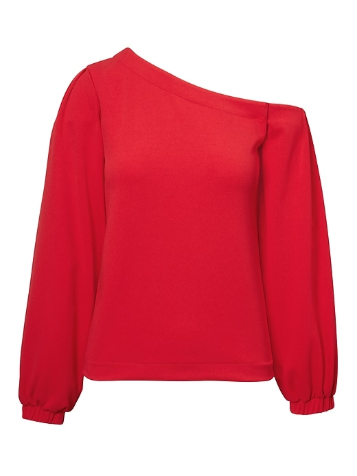 Banana Republic Womens One-Shoulder Balloon-Sleeve Top Red Size XL