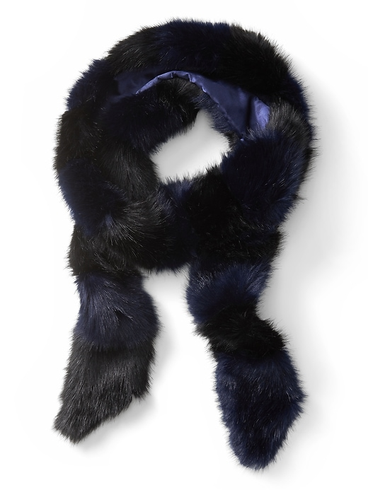 Banana Republic Womens Stripe Faux Fur Skinny Scarf Preppy Navy & Black Size One Size