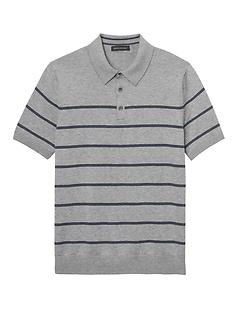 SUPIMA® Cotton Stripe Sweater Polo