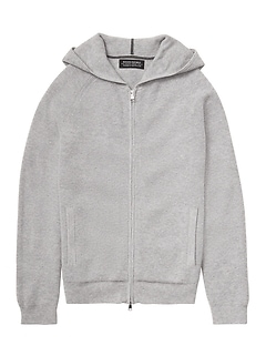 Todd & Duncan Waffle-Knit Full-Zip Sweater Hoodie