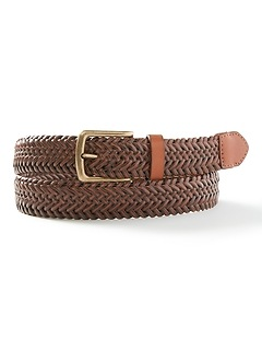 Braided Stretch Leather Belt