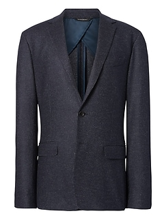 Slim Navy Pinstripe Italian Motion-Stretch Wool Suit Jacket