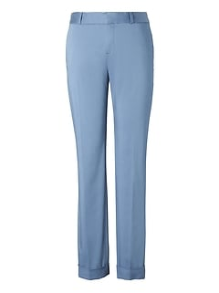 Avery Straight-Fit Sateen Ankle Pant with Cuff