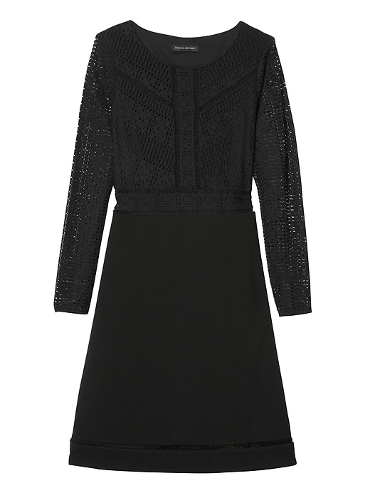 Banana Republic Womens Lace Fit-And-Flare Dress Black Size 12