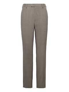 Slim Windowpane Performance Stretch Wool Dress Pant