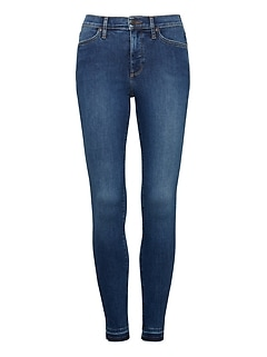 High-Rise Legging-Fit Luxe Sculpt Medium Wash Ankle Jean with Fray Hem