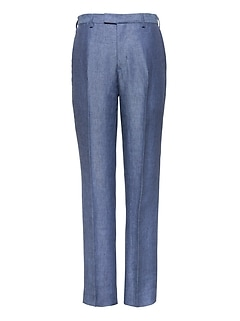 Slim Blue Linen Suit Pant