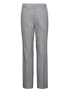 Slim Non-Iron Stretch Cotton Plaid Pant