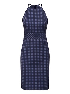 Gingham Bi-Stretch Racer-Neck Sheath Dress