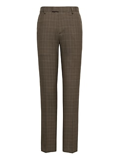 Athletic Tapered Plaid Smart-Weight Performance Wool Blend Suit Pant