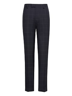 Athletic Tapered Navy Smart-Weight Performance Wool Blend Suit Pant