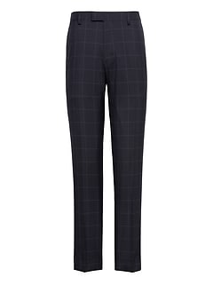 Slim Navy Smart-Weight Performance Wool Blend Suit Pant