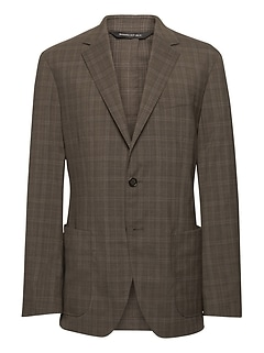 Standard Plaid Smart-Weight Performance Wool Blend Suit Jacket