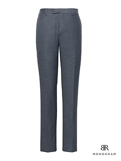 Monogram Slim Navy Wool-Cotton Suit Pant