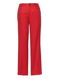 Petite Logan Trouser-Fit Cropped Stretch Linen-Cotton Pant