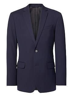 Slim Navy Pinstripe Wool Suit Jacket