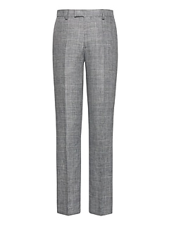 Slim Gray Plaid Linen Suit Pant